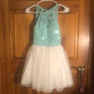 B Darlin Dresses - Aqua and White Sparkly Short Prom Dress